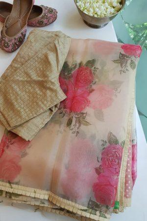Cream and peach floral printed organza saree 1