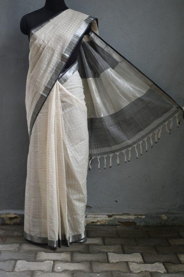 Cream grey silver zari checks mangalagiri cotton saree 1
