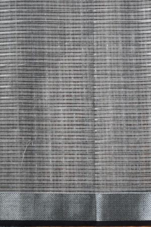 Cream grey silver zari checks mangalagiri cotton saree 2