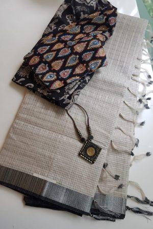 Cream grey silver zari checks mangalagiri cotton saree