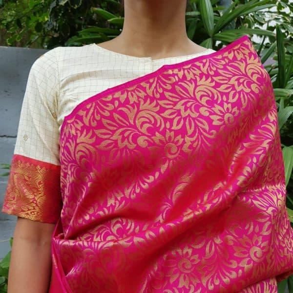 Cream kanchi silk zari blouse