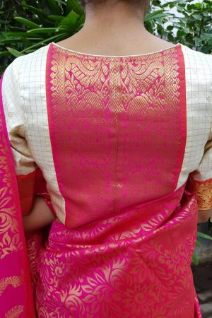 Cream kanchi silk zari blouse back