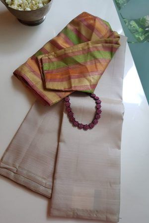 Cream lavanyam kanchi silk sareeCream lavanyam kanchi silk saree