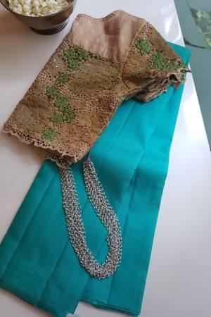 Cyan blue lavanyam kanchi silk saree