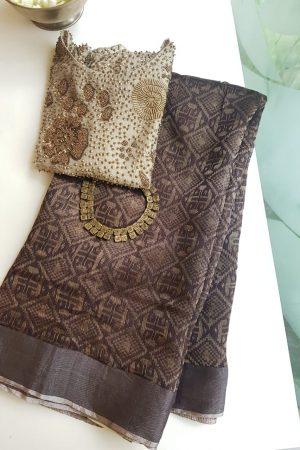 Dark brown rich soy silk saree