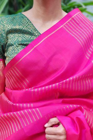 Dark green kanchi silk zari blouse