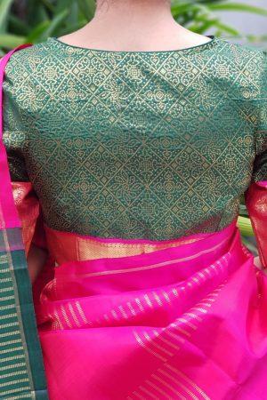 Dark green kanchi silk zari blouse back