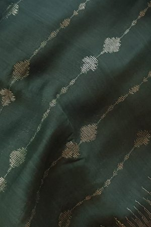 Dark green lifeline design soy silk saree 1