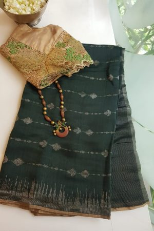 Dark green lifeline design soy silk saree