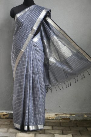 Dark grey silver zari checks mangalagiri cotton saree 1