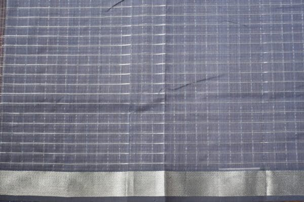 Dark grey silver zari checks mangalagiri cotton saree 2