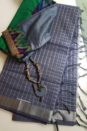 Dark grey silver zari checks mangalagiri cotton saree