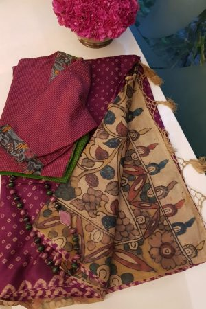 Deep pink tussar bandhini saree with kalamkari 1