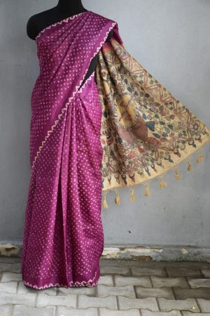 Deep pink tussar bandhini saree with kalamkari
