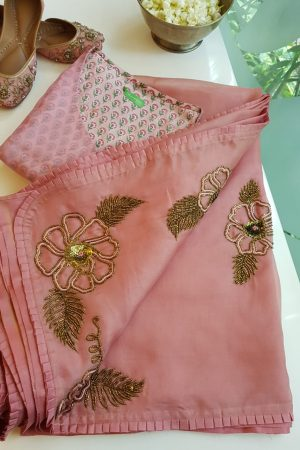 Dusty pink organza silk hand embroidered saree