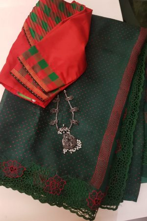Green organza saree with cutwork 1
