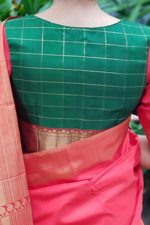 Green red kanchi silk blouse back