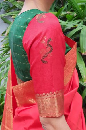 Green red kanchi silk blouse sleeve