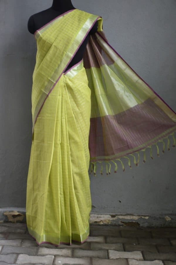 Green silver zari checks mangalagiri cotton saree 1