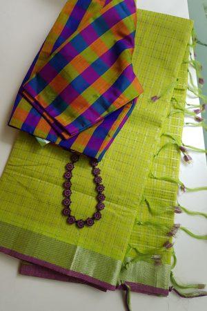 Green silver zari checks mangalagiri cotton saree