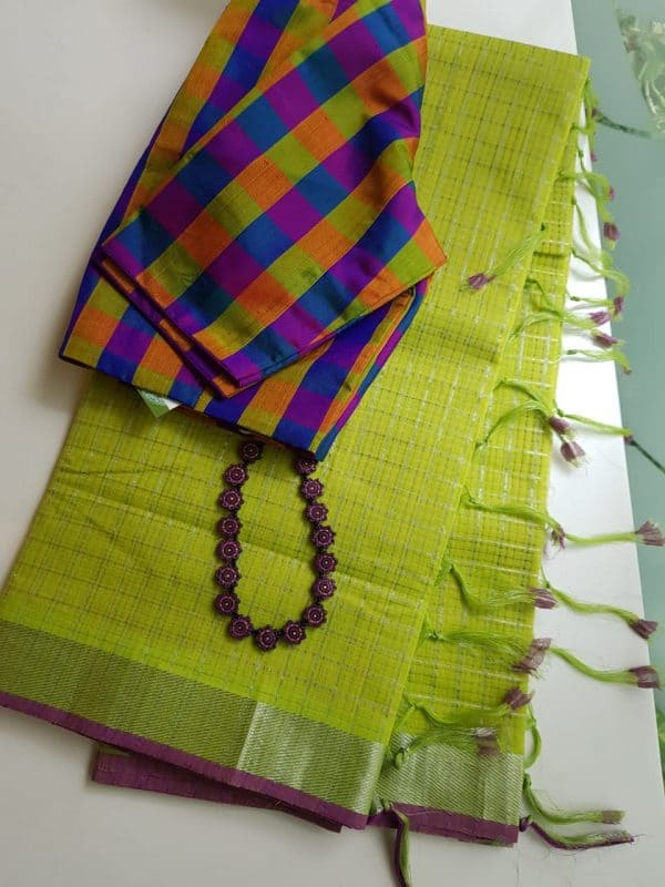 Green silver zari checks mangalagiri cotton saree