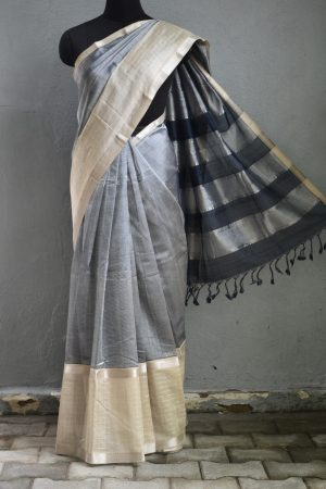 Grey beige mangalagiri checks silk cotton saree 1