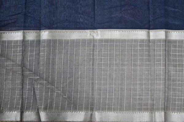 Grey beige mangalagiri checks silk cotton saree 2