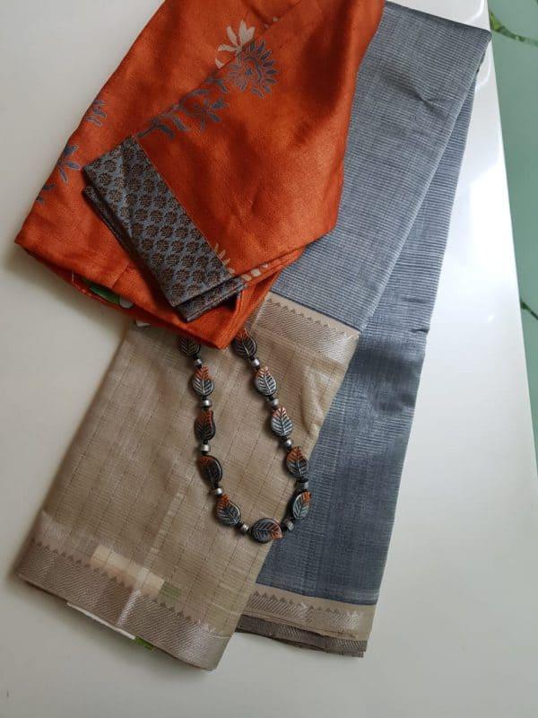 Grey beige mangalagiri checks silk cotton saree