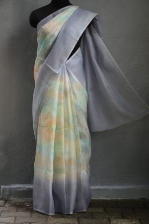 Grey border shaded organza saree
