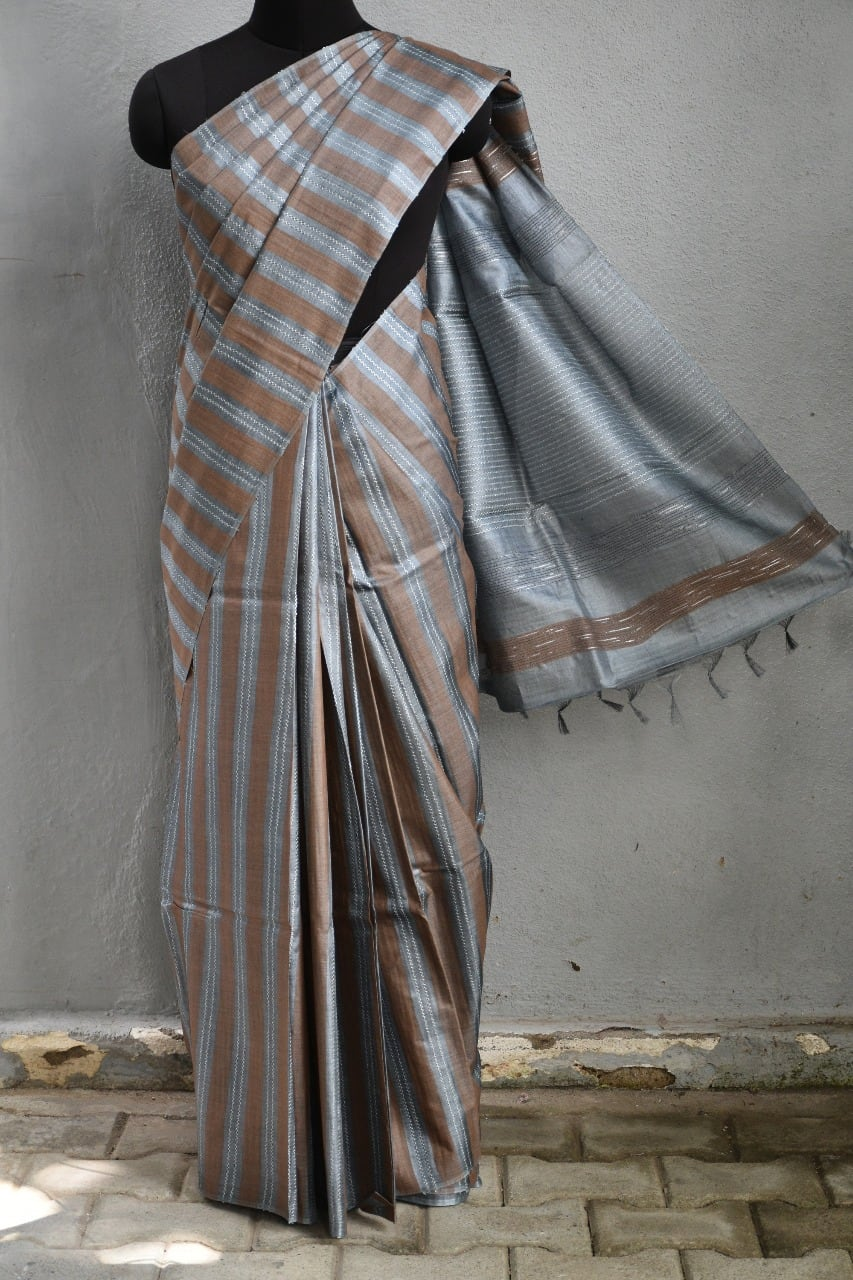 Grey brown stripes plain handwoven tussar saree 1