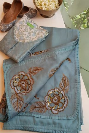 Grey organza silk hand embroidered saree