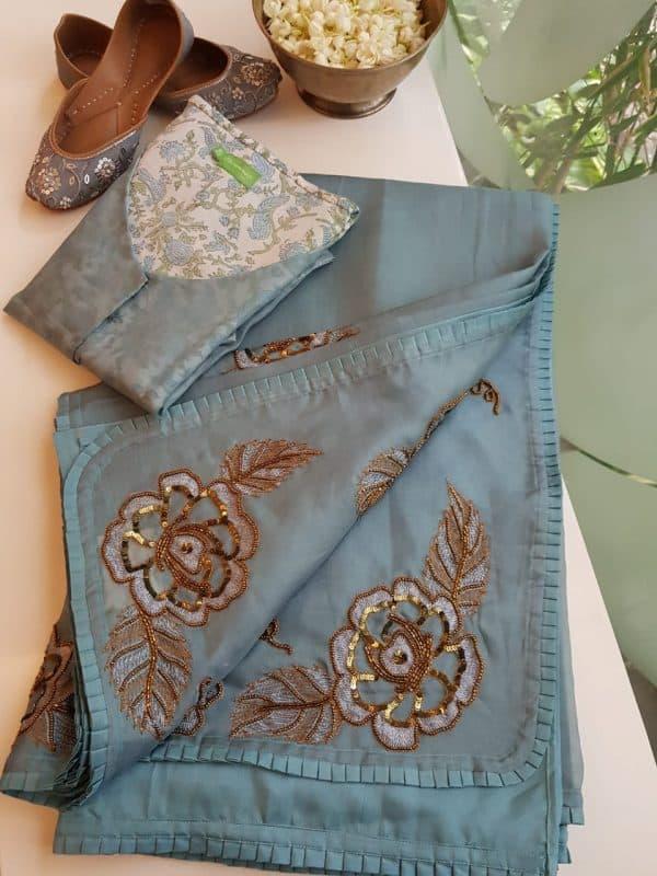 Grey organza silk hand embroidered saree
