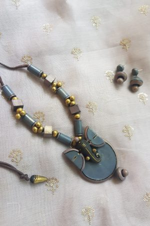Grey terracotta ganesha necklace