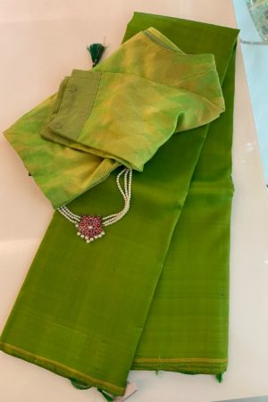 Lemon green lavanyam kanchi silk saree