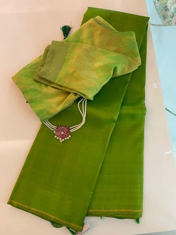 Lemon green lavanyam kanchi silk saree