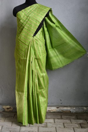 Light green stripes handwoven saree 1