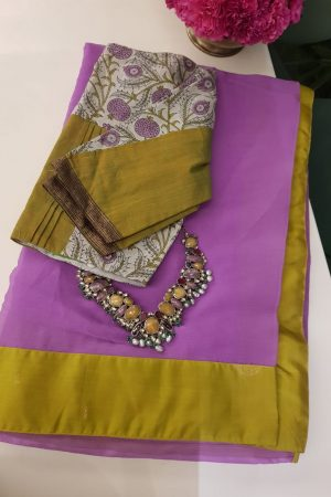 Lilac chiffon saree with kanchi silk border 1