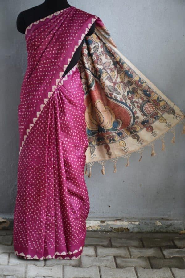 Magenta bandhini tussar saree with kalamkari 1