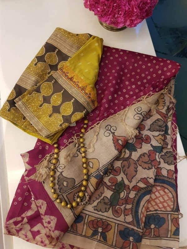 Magenta bandhini tussar saree with kalamkari