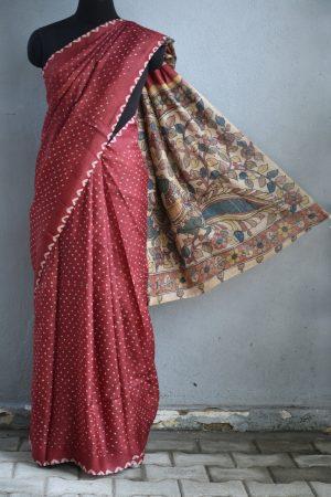 Maroon bandhini tussar saree with kalamkari 1