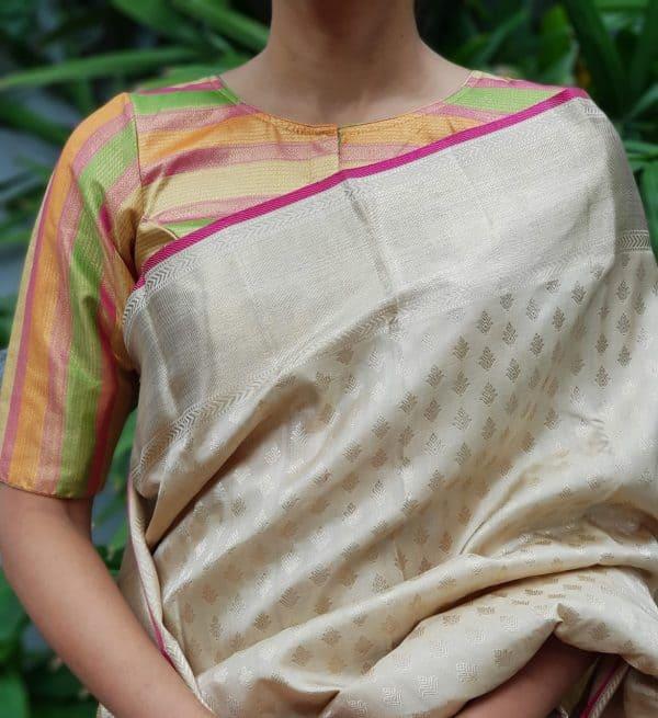 Multicolour pastel kanchi silk zari blouse