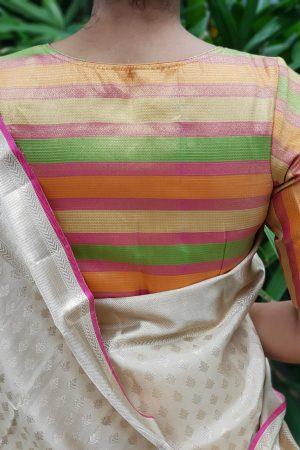 Multicolour pastel kanchi silk zari blouse back