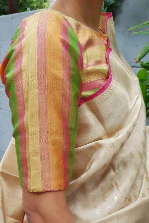 Multicolour pastel kanchi silk zari blouse sleeve