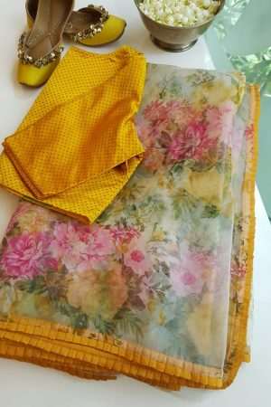 Mustard edge floral printed organza saree 1