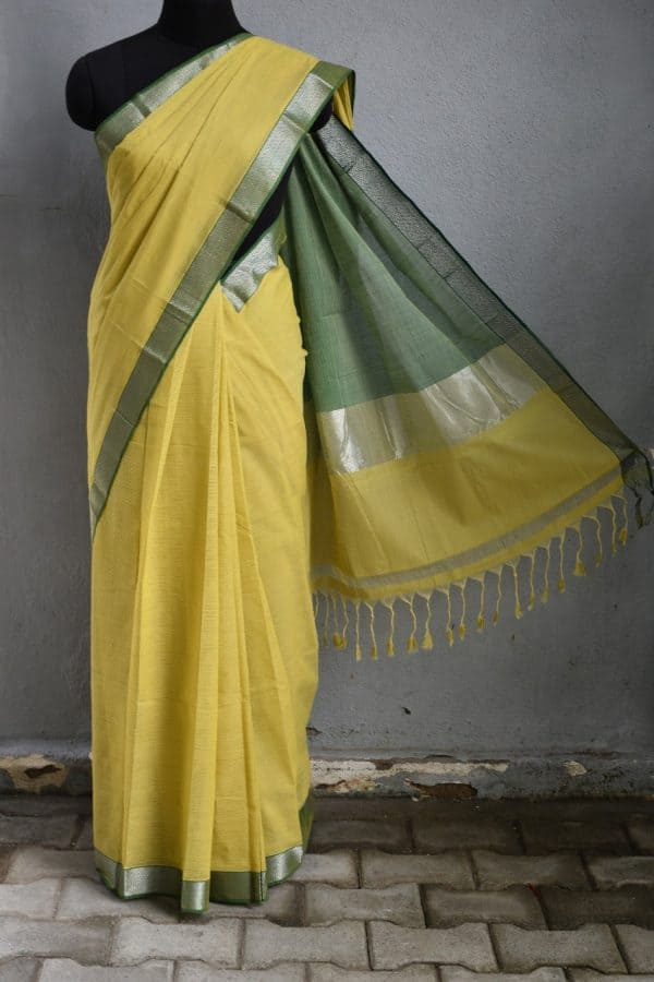 Mustard green mangalagiri missing checks cotton saree 1