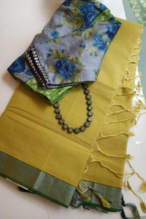 Mustard green mangalagiri missing checks cotton saree
