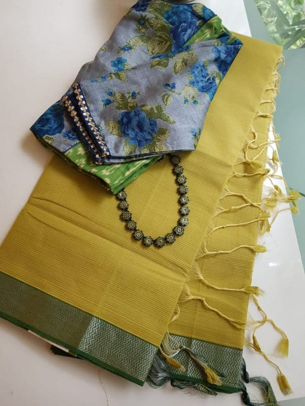 Mustard green mangalagiri missing checks cotton saree