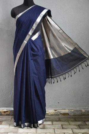 Navy blue mangalagiri missing checks cotton saree 1