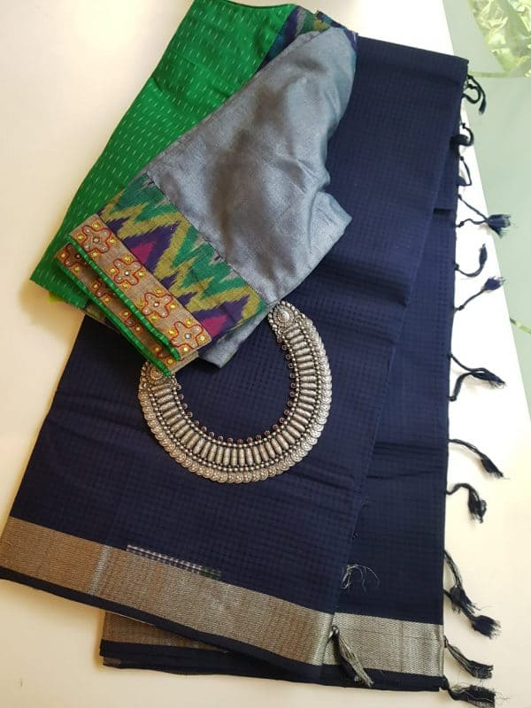 Navy blue mangalagiri missing checks cotton saree