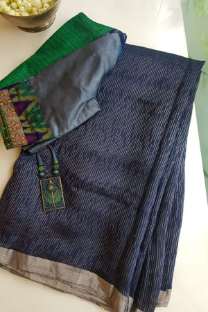 Navy blue rich soy silk saree
